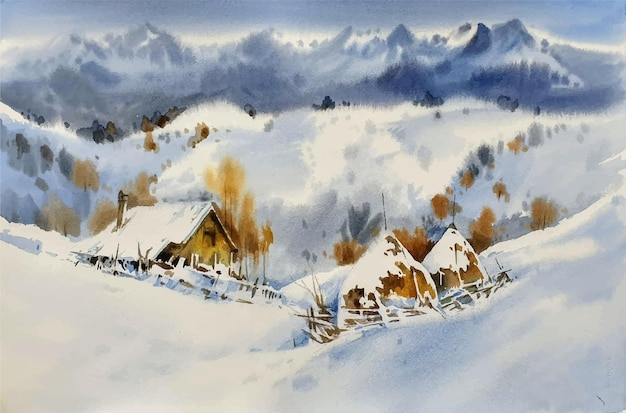 Watercolor travel resort in the mountains