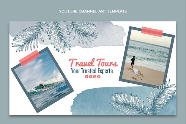 Watercolor travel youtube channel art