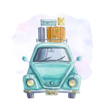 Watercolor travelling blue car with suitcases