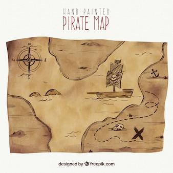 Watercolor treasure map of pirate  adventure