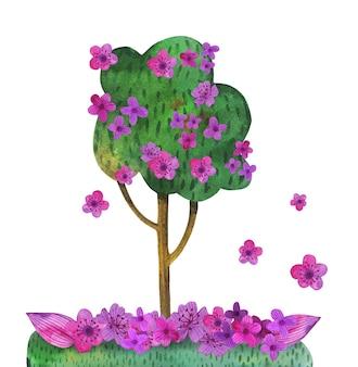 春の花の水彩画の木