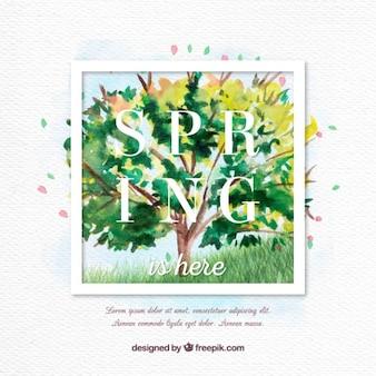 수채화 나무 봄 배경