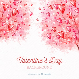 Watercolor tree valentine's day background