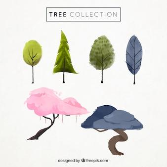 다른 색상의 수채화 나무