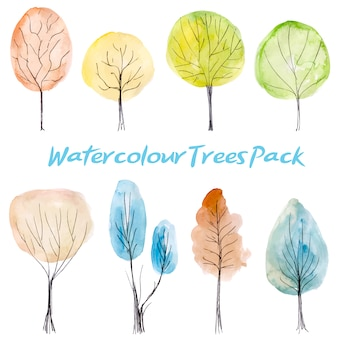 Watercolor trees pack