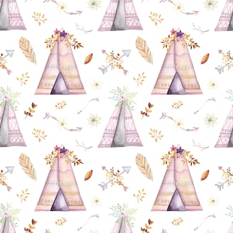 Watercolor tribal teepee pattern