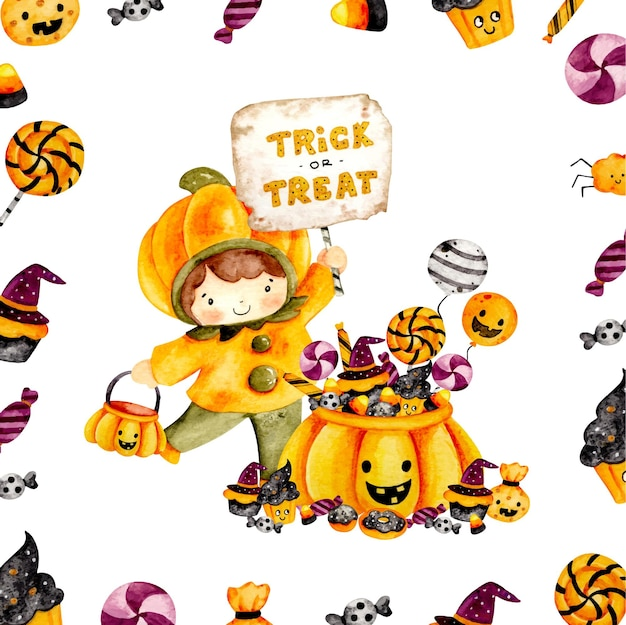 Watercolor trick or treat frame