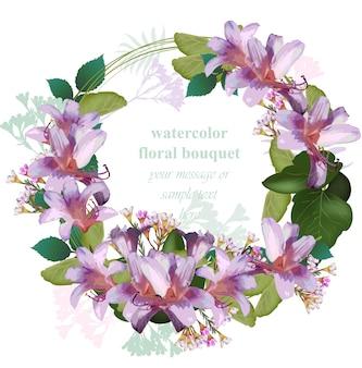 Акварельная тропическая цветочная открытка с венком. вектор vintage круглый cirlce рама тропических цветов