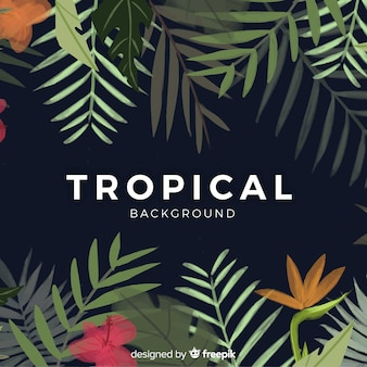 Watercolor tropical background with elegant style