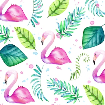 Watercolor tropical background with flamingos and leaves