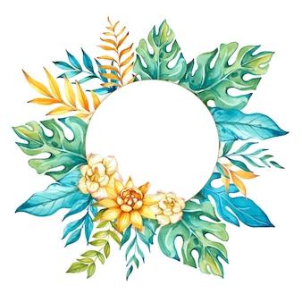 熱帯の葉と花と水彩の熱帯の背景