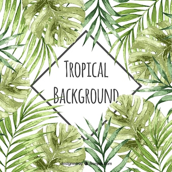 Watercolor tropical background with vintage style