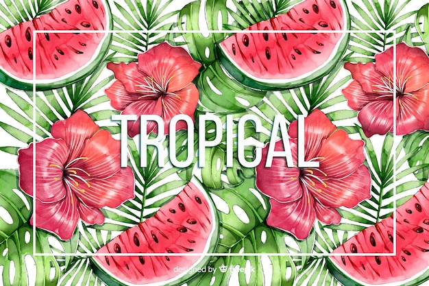 Watercolor tropical background