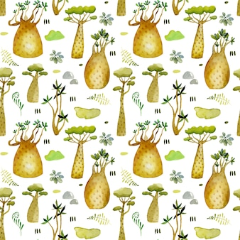 Watercolor tropical baobabs trees seamless pattern