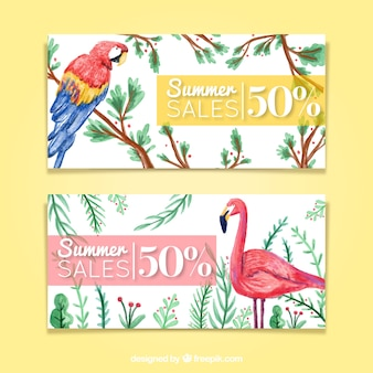 Watercolor tropical birds summer sale banners