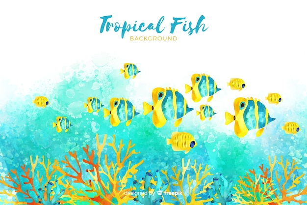 Watercolor tropical fishes background