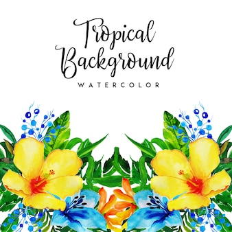 Watercolor tropical floral and leaves background