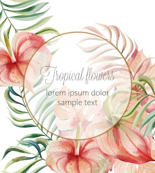 Watercolor tropical flowers and leaves card with place for text