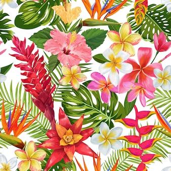 Watercolor tropical flowers seamless pattern. exotic blooming plumeria flowers