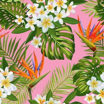 水彩の熱帯の花のシームレスパターン。エキゾチックな咲くプルメリアの花
