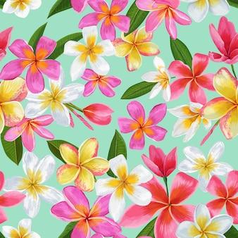 水彩の熱帯の花のシームレスなパターン。花の手描きの背景。ファブリック、テキスタイル、壁紙のためのエキゾチックなプルメリアの花のデザイン。ベクトルイラスト