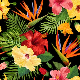 Watercolor tropical flowers seamless pattern. floral hand drawn exotic blooming flowers