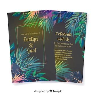 Watercolor tropical flowers wedding invitation