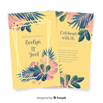 Watercolor tropical flowers wedding invitation