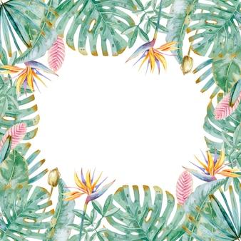モンステラの葉とストレチアの水彩トロピカルフレーム