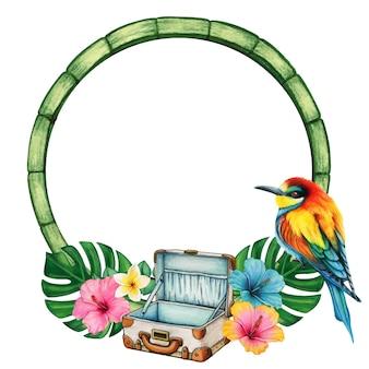 Акварельная тропическая рамка с чемоданом и радужной птицей