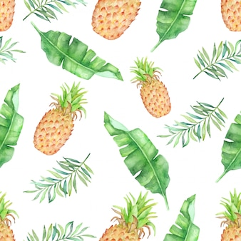 Watercolor tropical fruit and leaves  semaless pattern