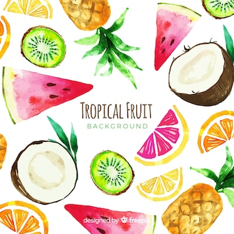 Watercolor tropical fruits background
