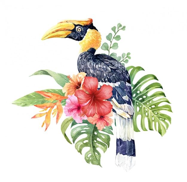Watercolor tropical great hornbill in hibiscus bouquet