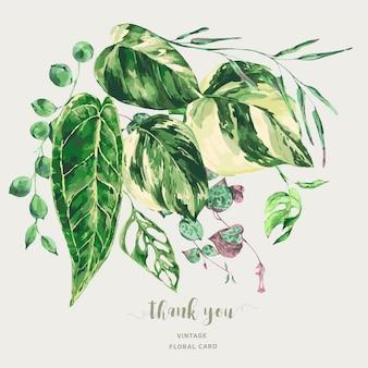수채화 열대 녹색 잎. monstera 잡색의 녹지 그림, 식물 인사말 카드.