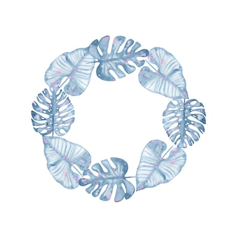 Watercolor tropical indigo floral wreath with leaves of indigo palm monstera