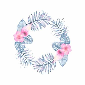 ピンクオランダカイウフランジパニとインディゴパームモンステラの葉と水彩トロピカルインディゴフローラルリース