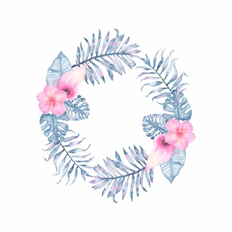 Watercolor tropical indigo floral wreath with pink calla frangipani and leaves of indigo palm monstera
