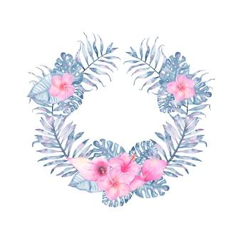ピンクオランダカイウハイビスカスフランジパニとインディゴパームモンステラの葉と水彩トロピカルインディゴフローラルリース