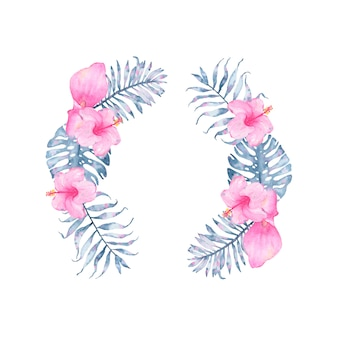 Watercolor tropical indigo floral wreath with pink calla hibiscus and leaves of indigo palm monstera