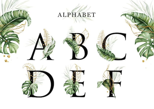 Watercolor tropical leaves alphabet set of a b c d e f with golden leaves