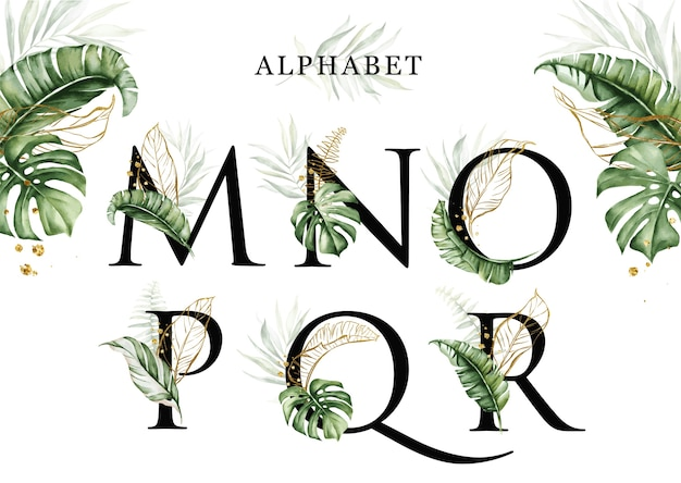 Watercolor tropical leaves alphabet set of m n o p q r with golden leaves