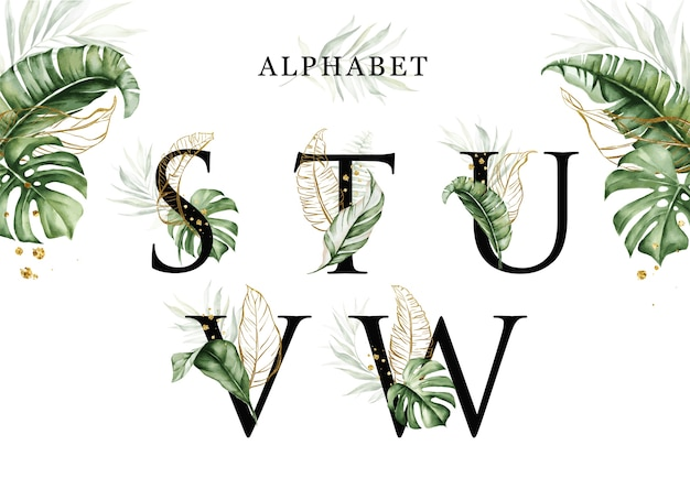 Watercolor tropical leaves alphabet set of s t u v w with golden leaves