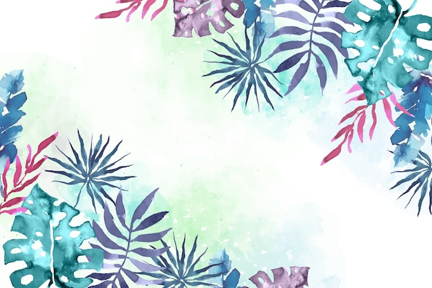 Watercolor tropical leaves background