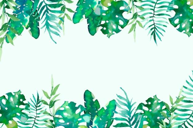 水彩トロピカル葉背景