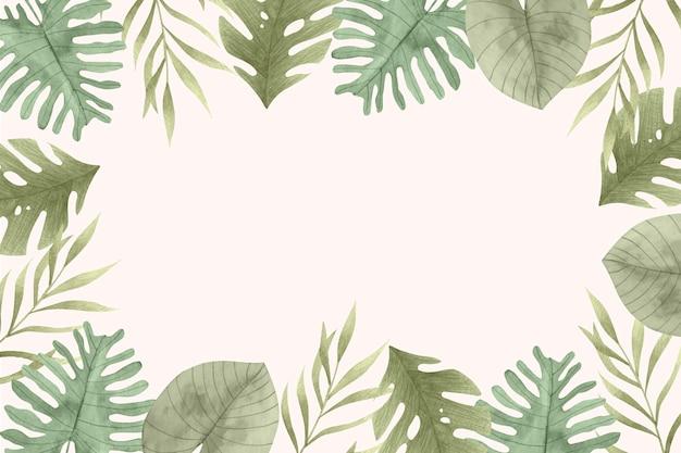 Акварель тропические листья фон