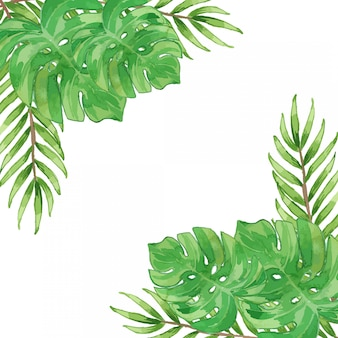 Watercolor tropical leaves frame border template