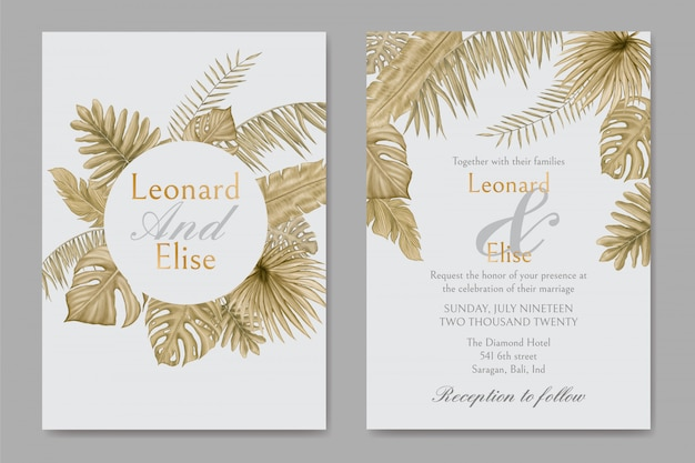 Watercolor tropical leaves ornament on wedding invitation card template