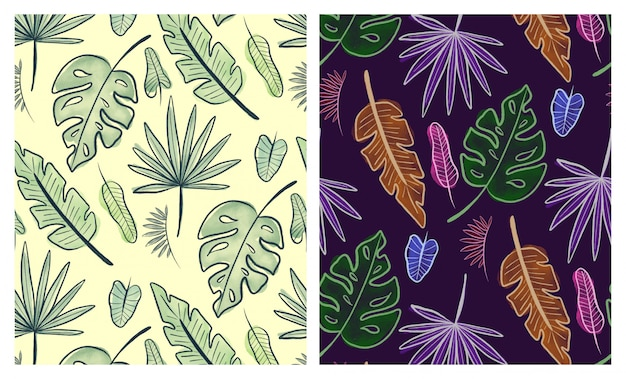 Watercolor tropical leaves seamless patterns set
