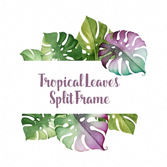 Watercolor tropical leaves text frame