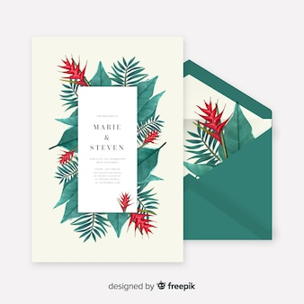 Watercolor tropical leaves wedding invitation template